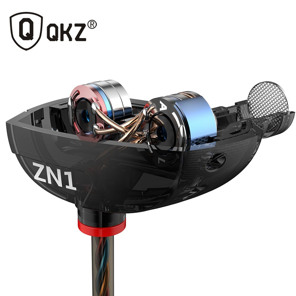 Earphone QKZ ZN1 Original 3.5mm in Ear Earphones With Microphone HIFI Stereo Earphones <font><b>Super</b></font> Bass Noise Isolating fone de ouvido