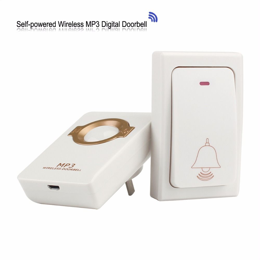 Wireless Doorbell With 1 Self-powered Remote Button & 1 Receiver MP3 Digital Long Range Waterproof For Home Security F1753B
