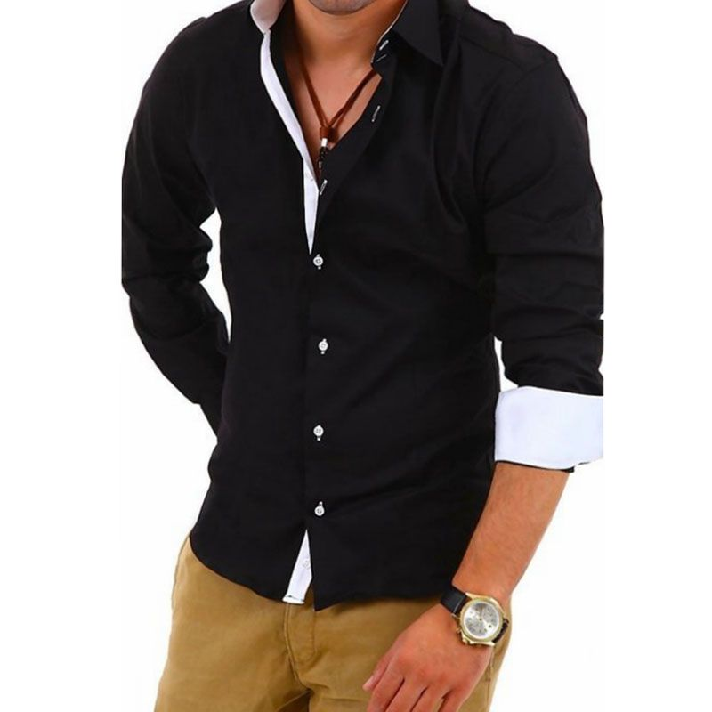 Men Shirt Luxury Brand 2017 Male Long Sleeve Shirts Casual Hit Color Slim Fit Black Dress Shirts Mens Solid 4XL