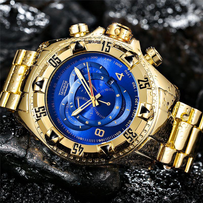 Temeite Golden Luxury Brand Men Watches Fashion Blue Face Waterproof Stainless Steel Watch Big Size Male Quartz Clock Wristwatch