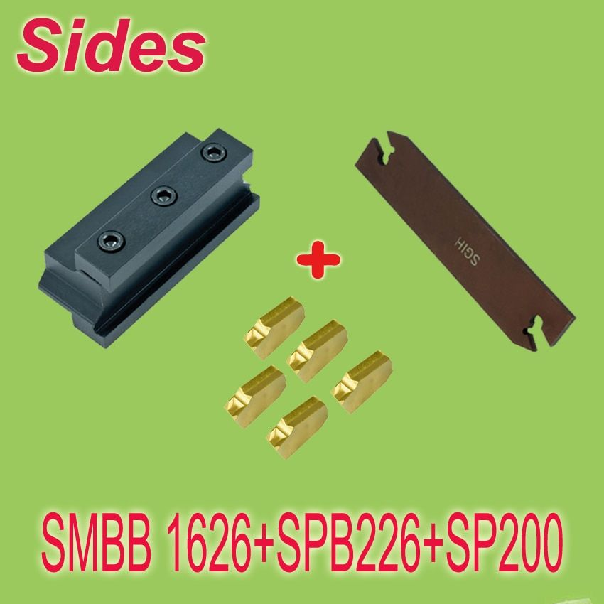 SMBB1626+SPB226+10pcs SP200 Part Off Block Indexable Parting Off Tool Stand Holder 16mm High Blade 26mm Tool Post For Lathe
