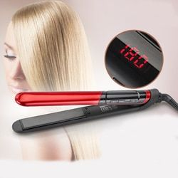 Free Shipping LCD Display 2-in-1 ceramic coating Hair straightener comb hair Curler beauty care Iron healthy beauty GMR26