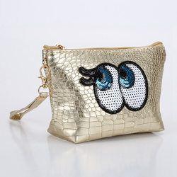 Travel Cosmetic Bag Cartoon Cute Eyes Makeup Case Women Zipper Make Up Handbag Organizer Storage Pouch Toiletry Wash Kit Bags