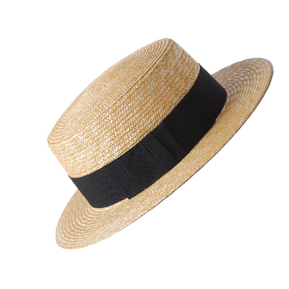 100% Wheat Straw Summer Women Boater Beach Sun Hat For Elegant Lady Queen Fashion Bowknot Round Top Flat Homburg Fedora Caps