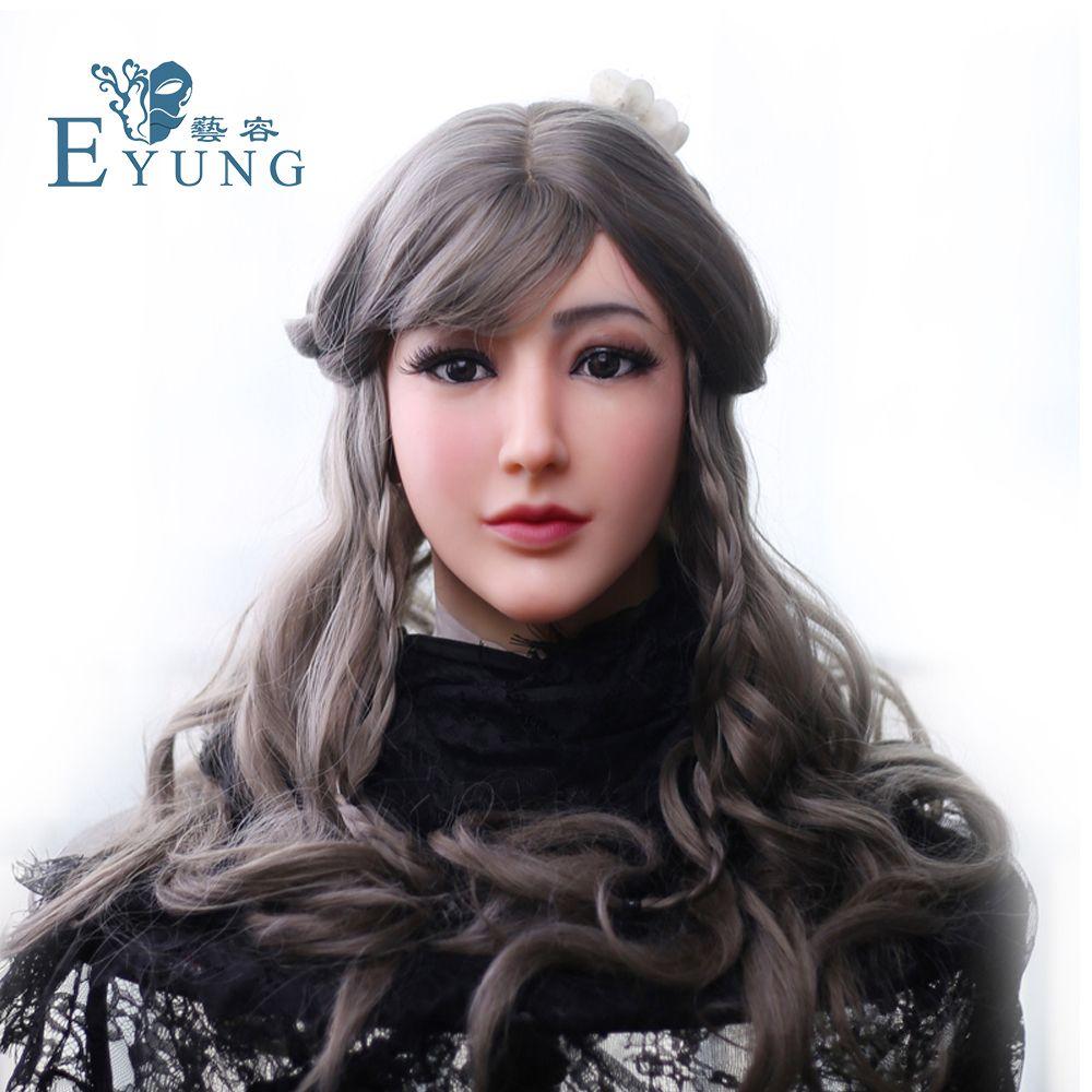 EYUNG Goddess Alice female face with light makeup for crossdresser Masquerade Transgender lovers drag queen shemale boob breast
