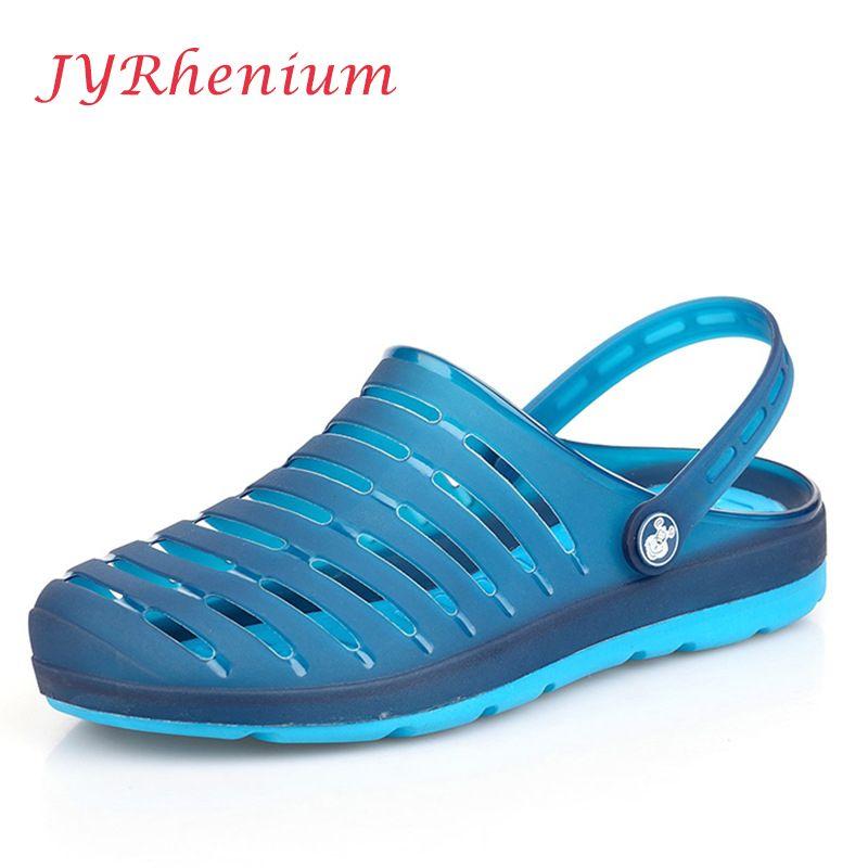 Jyrhenium Лето Для мужчин Шлёпанцы для женщин дышащие пляжные сандалии крокодила Мужской Обувь выдалбливают сопротивления Для мужчин Обувь, са...