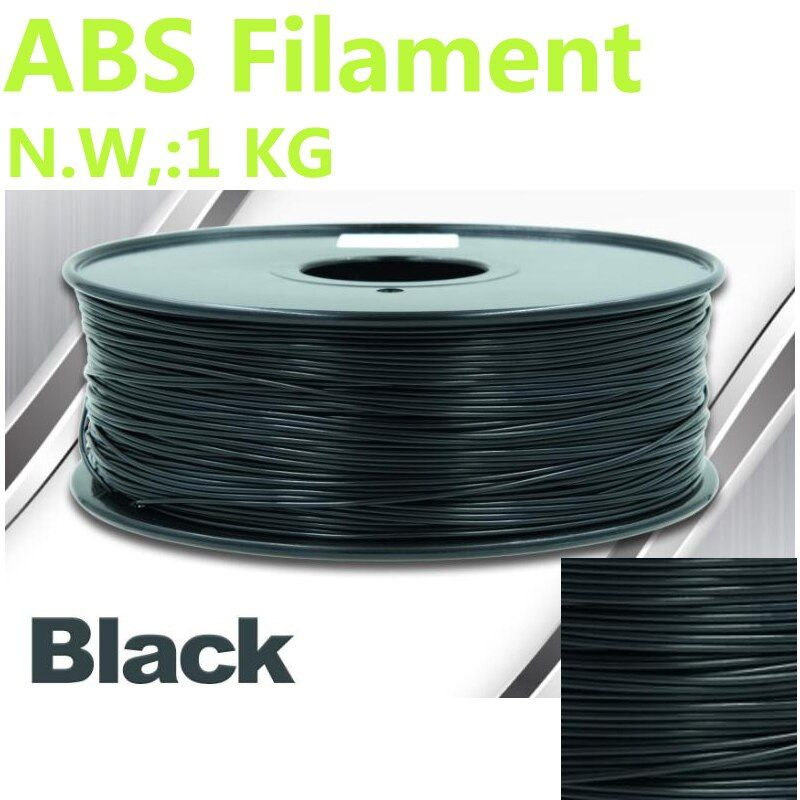 Black color abs filament 375mLength 3d filament 1KG ABS 1.75mm impresora 3d filament abs CHIMEI raw material 3d-pen 3d filament