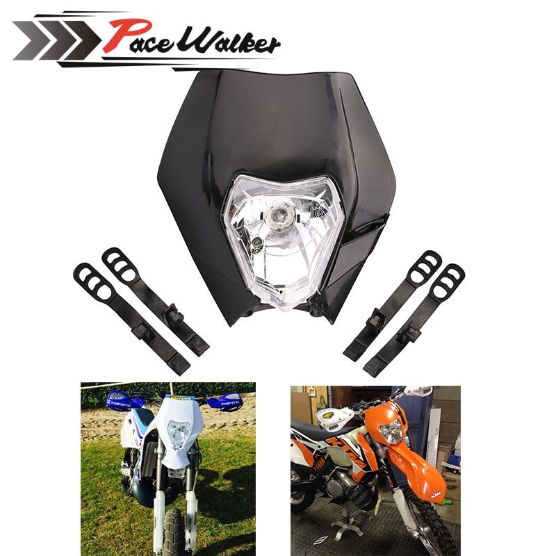 FREE SHIPPING 4 color Motorcycle Dirt Bike Motocross Supermoto Universal Headlight Fairing KTM SX EXC