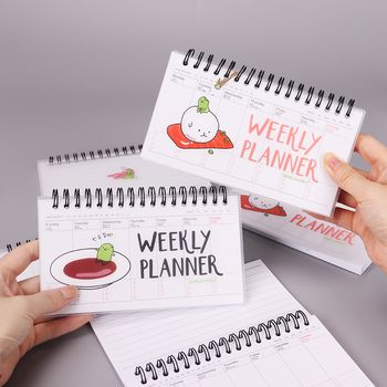 Japanese Cuisine Cartoon PVC Weekly Planner Coil Notebook Diary Day Planner Journal Record Stationery Office School Supplies
