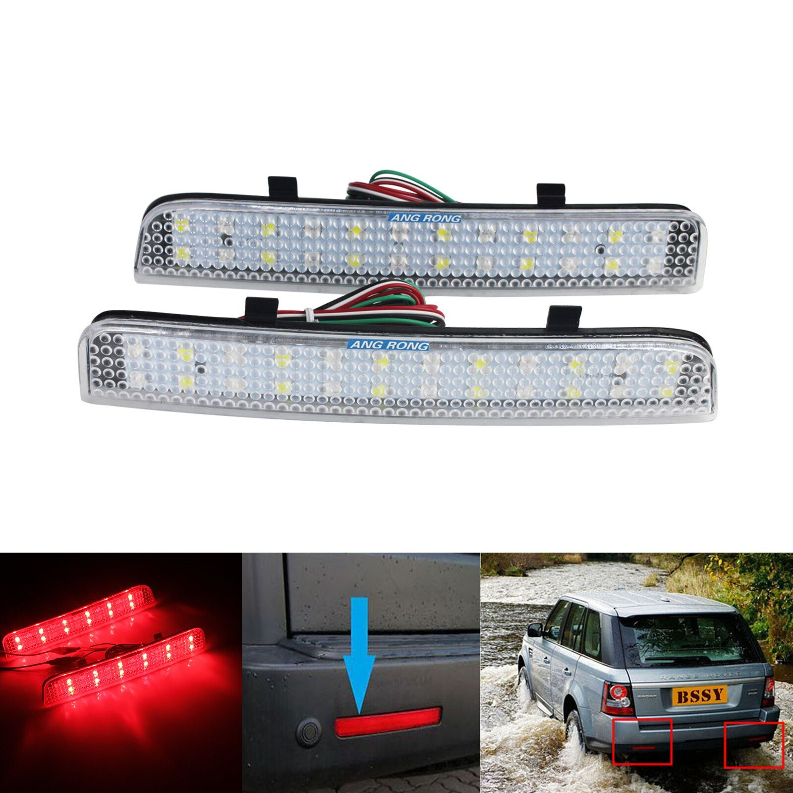 ANGRONG Klare Linse Für Range Rover Freelander 2 L322 Hinten Stoßstange Reflektor LED Bremslicht