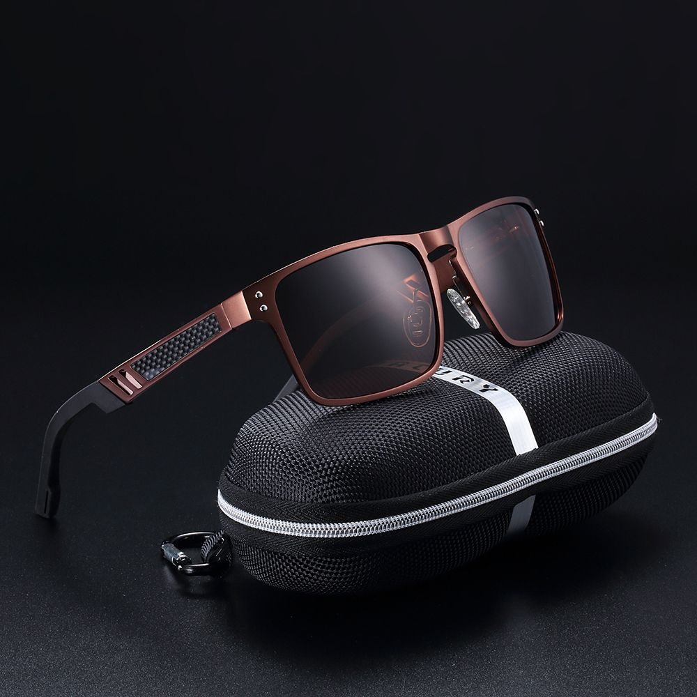 BARCUR High Quality Aluminum Magnesium Sunglasses Men Polarized Classic Looking New Design Male Driving Eyewear with case set