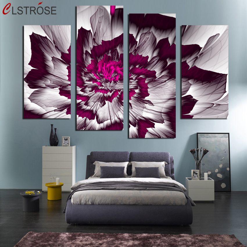 Clstrose абстрактный цветок холст картины 4 шт. стены Книги по искусству Домашний декор печати HD Плакаты для Гостиная модульные картинки Unframed
