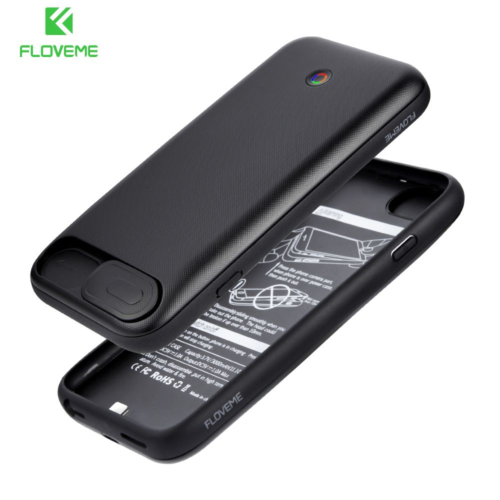 FLOVEME Batterie Chargeur Cas Pour iPhone 7 8 Plus 3000 mAh/4200 mAh Puissance banque Batterie Cas Pour iPhone 6 6 S Plus 7 8 Plus de charge