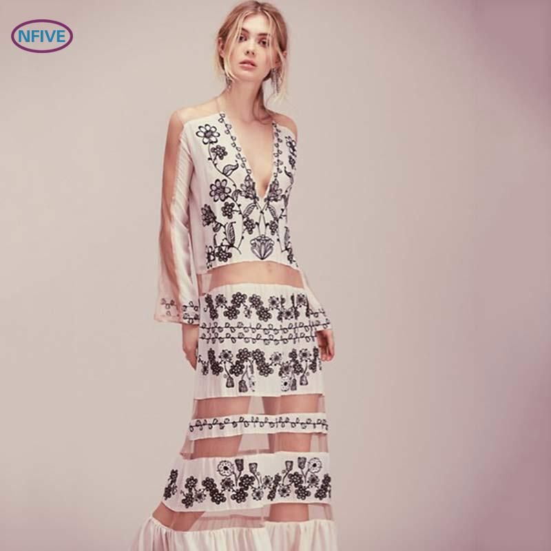 NFIVE Brand 2017 Spring Summer New Bohemia Style Patchwork Chiffon Dress Hollow V Collar Printed Long Dresses