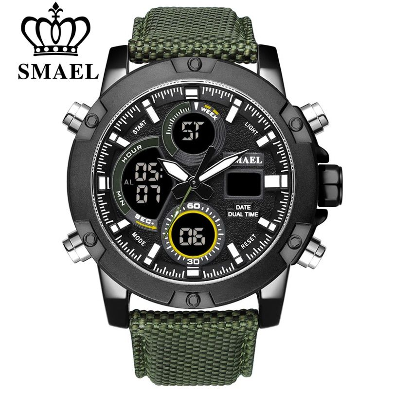SMAEL Alloy Dial Watch Analog LCD Digital Display Outdoor Men Sport Quartz Movement Date Stopwatch Back Light Nylon Band Watches
