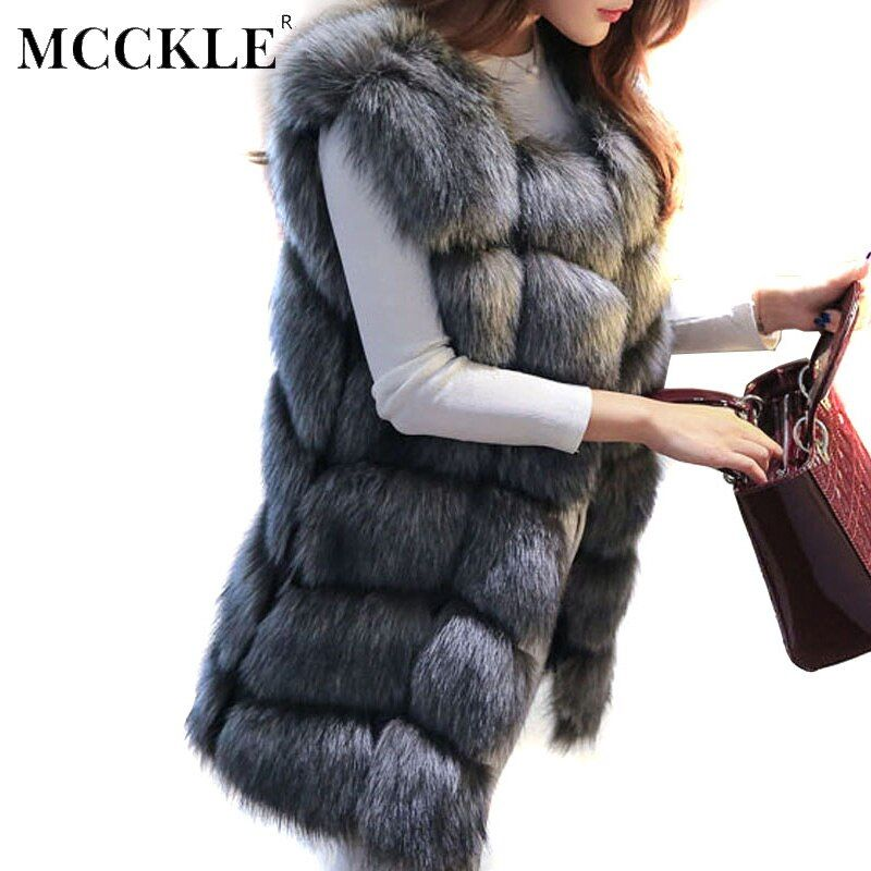 2018 Women Winter Faux Fur Vest Autumn Winter Warm Luxury Fur Coat Jacket Women's High <font><b>Quality</b></font> Faux Fur Sleeveless Vest Coat