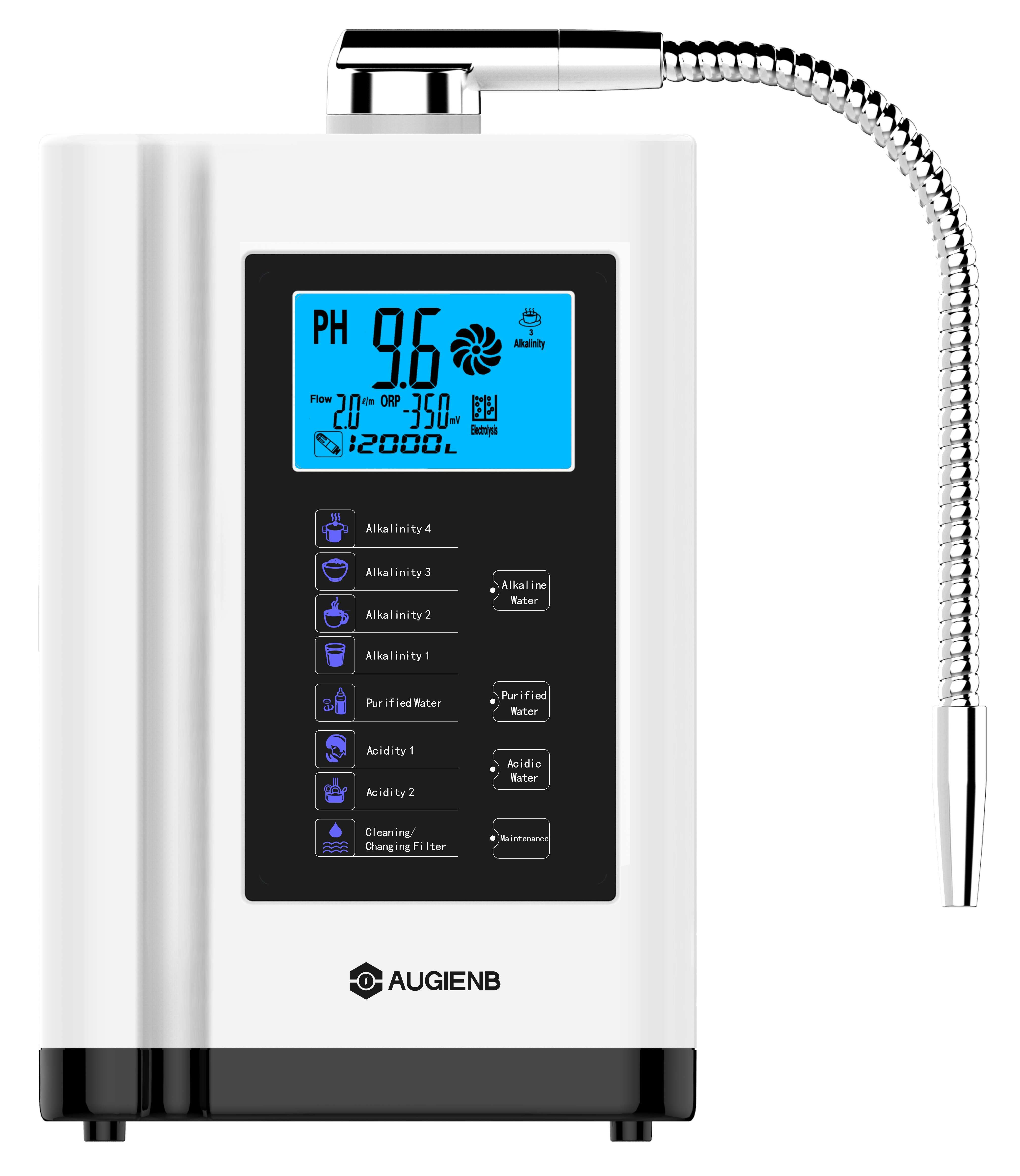 Augienb LCD Touch Control PH3.5-10.5 Alkaline Acid Machine 6000L Water Filter Auto-Cleaning Water Ionizer Water Purifier