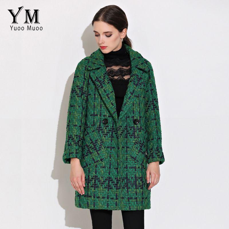 YuooMuoo High Quality Wool Coat Women Slim Medium-long Tweed Jacket Fashion Female Outwear Green Coat Brand Women Jacket