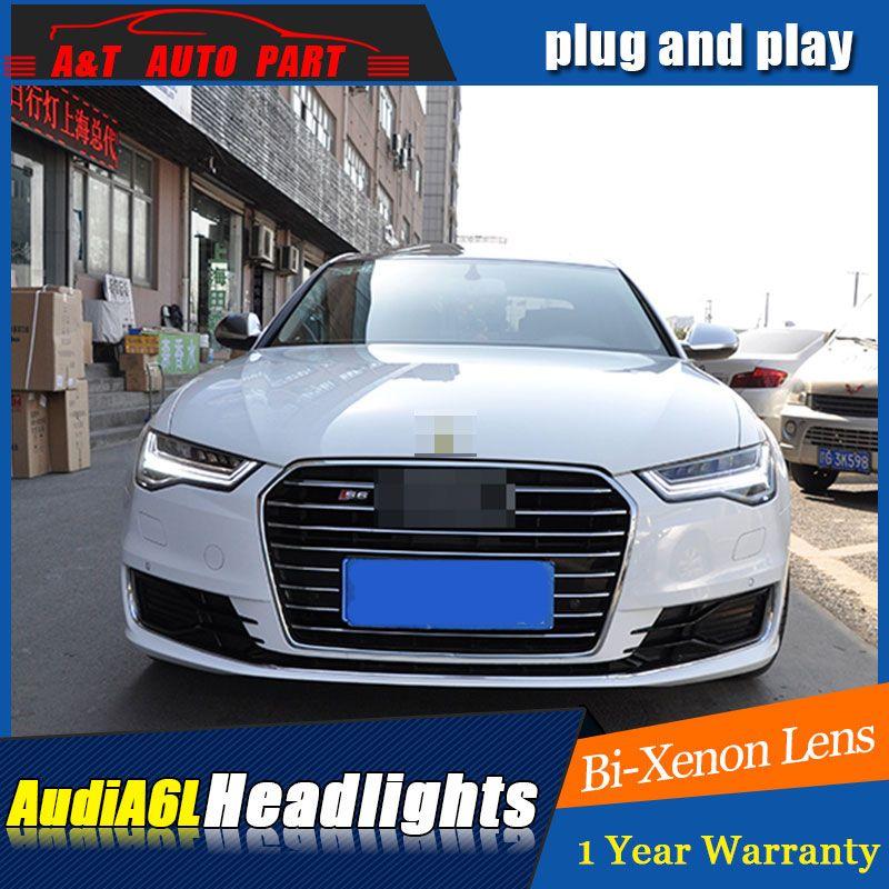 Auto Styling LED Kopf Lampe für AUDI A6 led scheinwerfer 2012-2016 für A6 kopf licht drl H7 hid bi-Xenon-Objektiv engel auge abblendlicht