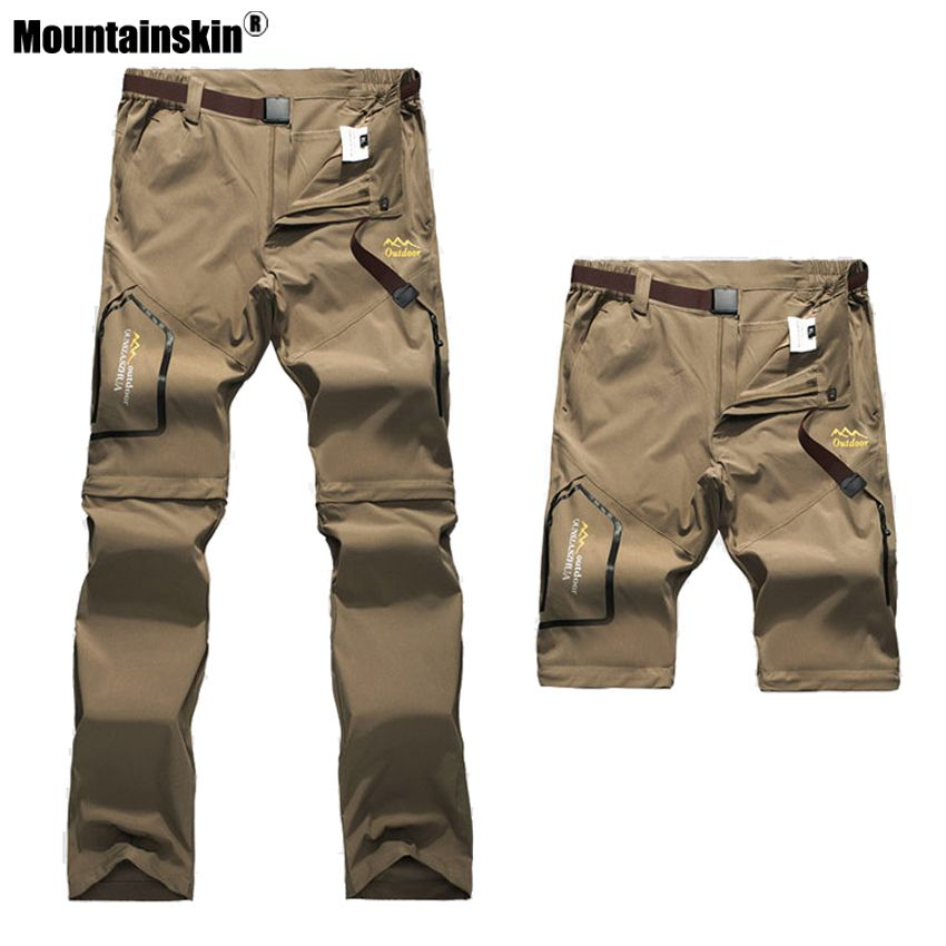 Mountainskin 6XL Men's Summer Quick Dry Pants Outdoor Male Removable Shorts Hiking <font><b>Camping</b></font> Trekking Fishing Sport Trousers VA162