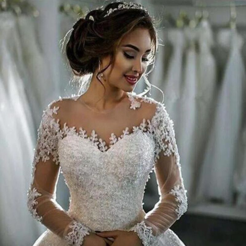 Vestido de Noiva Wedding Dresses 2018 Long Sleeves Lace Beaded Ball Gown Bride Dress Wedding Gown Trouwjurk Robe De Mariee