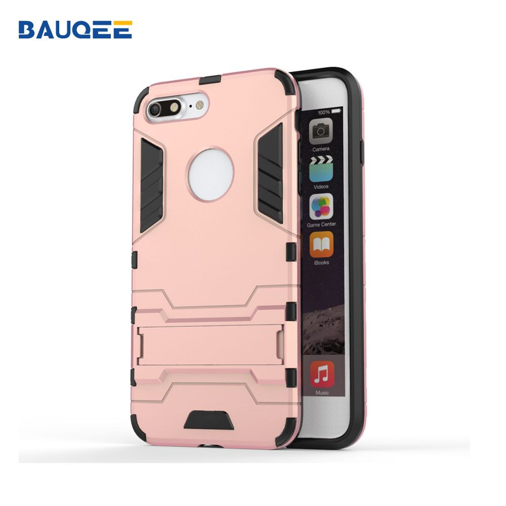 Brand Phone Case for iphone 7 8 plus Cases Plastic+TPU Shockproof Capa Cover Kickstand Phone Casing Back Cover for i7 8 plus