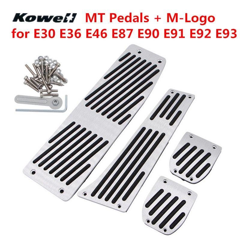 M-Logo MT Foot Rest Fuel Gas Brake Clutch Pedals Plate Cover Car Pedal Pads For BMW 3 Series X1 E30 E36 E46 E87 E90 E91 E92 E93