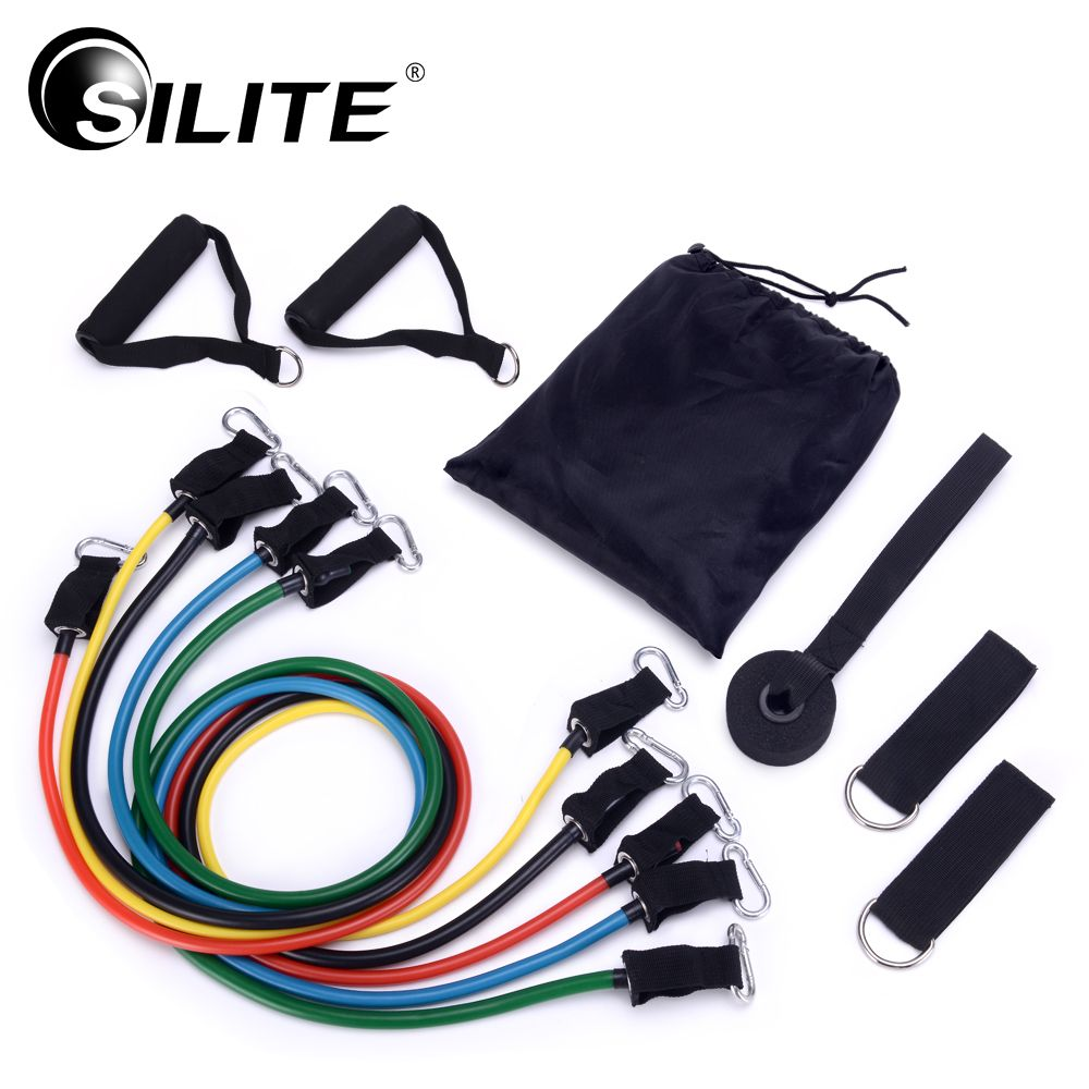 SILITE 11pcs/set Pull Rope Fitness Exercises Resistance Bands Crossfit Latex Tubes Pedal Excerciser Body Training Workout Yoga