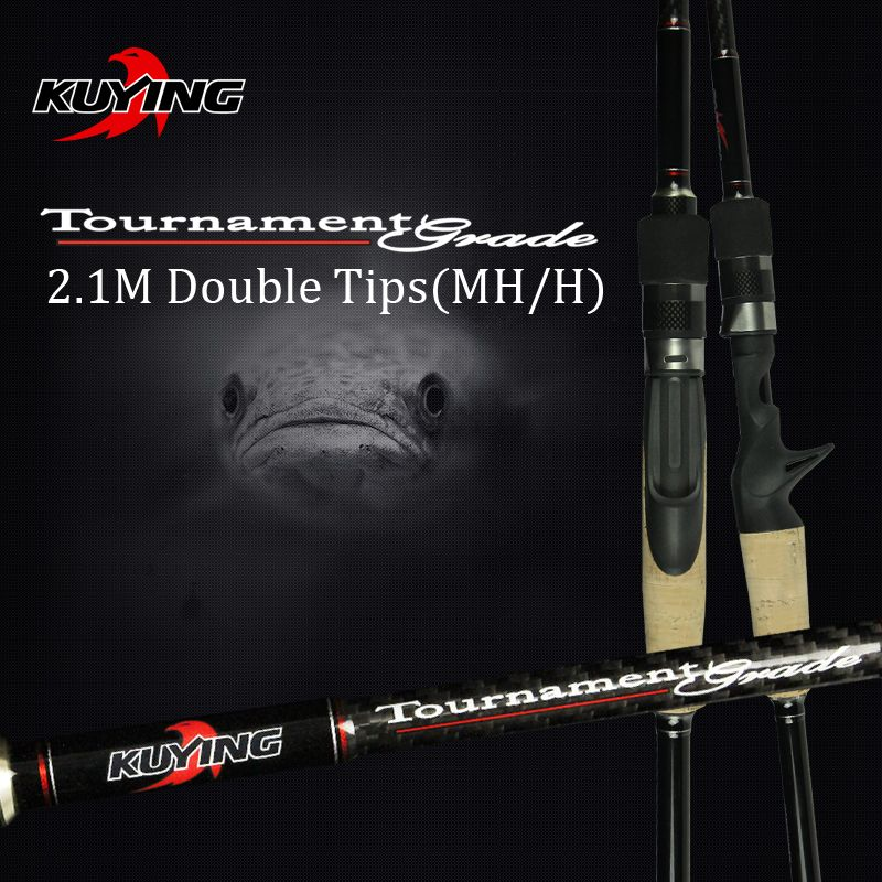 KUYING 2.1M Tournament Double Tips MH H Hard Casting Spinning Lure Fishing Rod <font><b>Carbon</b></font> Fiber Cane Pole Stick Medium Fast 7-28g