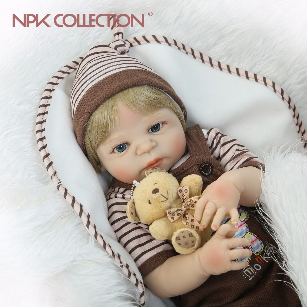 NPKCOLLECTION 23'' Lifelike Reborn Baby Dolls Babies Doll Full Vinyl Body So Truly Boy Model Doll For Toddler bebe Toy Gifts