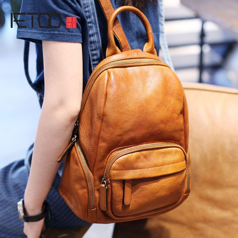 AETOO Original retro art hand first layer of leather shoulder bag Korean casual wild college wind backpack leather bags women