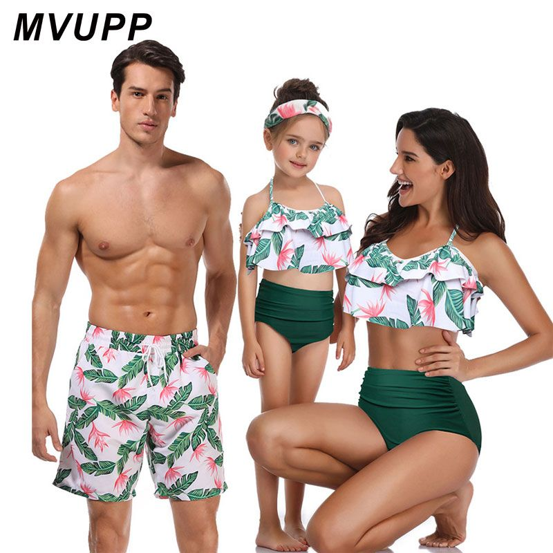 family matching swimwear beachwear mommy and me swimsuit mother daughter father son clothes dresses high waist bikini look mum