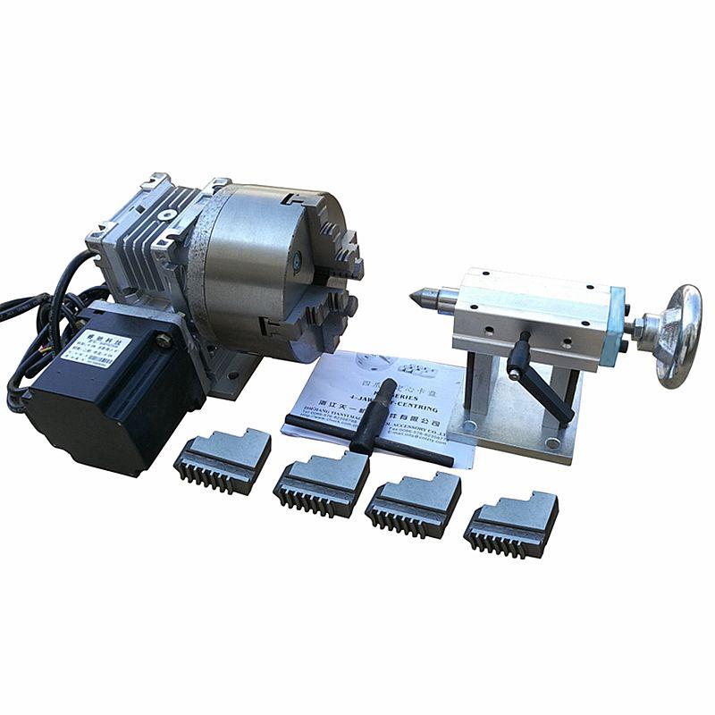 CNC Drehachse EINE Achse, die 4th Achse 100 MM 4 kiefer (130mm 4-backe für Optiona) mit 4-Backenfutter für CNC Router Gravur Maschine