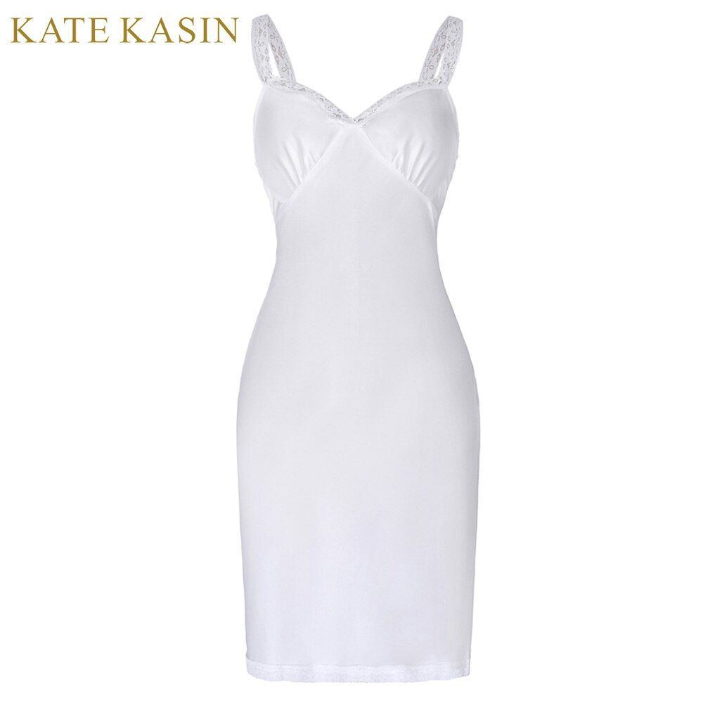 Kate Kasin White Chiffon Full Slip Petticoat Sexy Deep V Neck Female Sleeveless Summer Petticoat Spaghetti Strap Undergarments