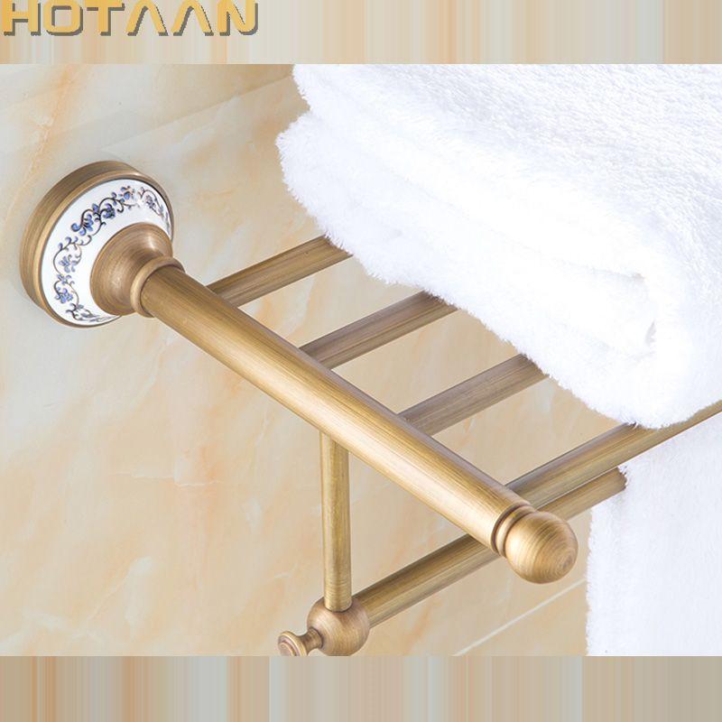 FREIES VERSCHIFFEN, massivem Messing Bad Handtuchhalter, antike Messing Handtuchhalter, 60 cm Ecke Bad Handtuch Regal Zubehör, YT-11501