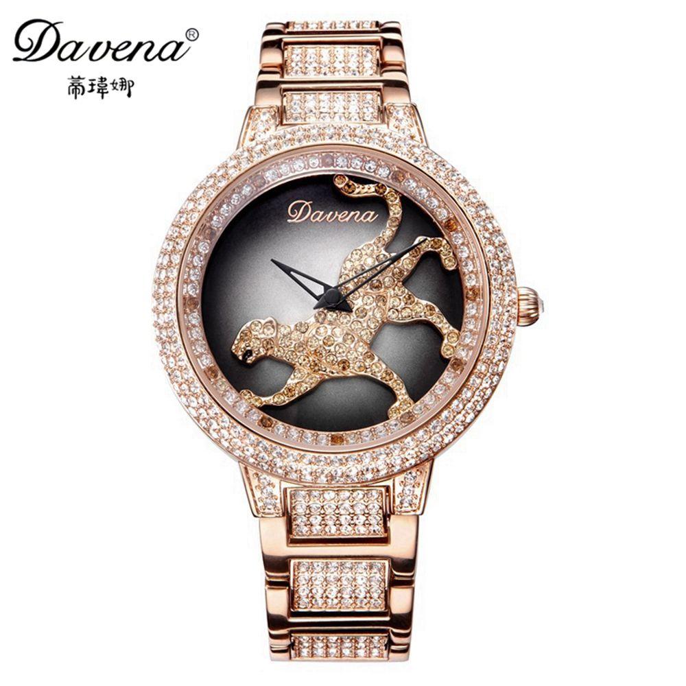 Genuine Women Luxury Bling Rhinestone Stone Leopard Run Ladies Quartz Steel Wrist Watch Top Brand Davena 60089 Clock Best Gift