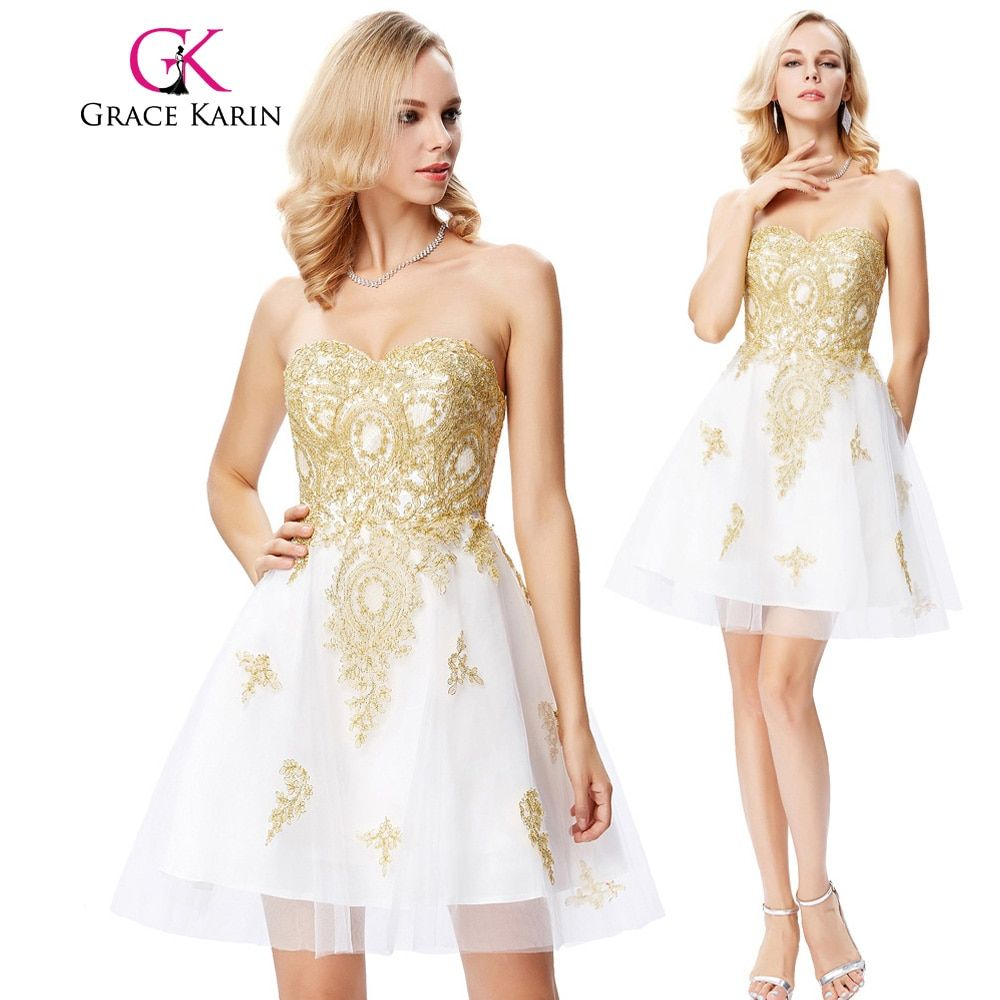 Grace karin short cocktail dress apliques con cuentas robe de cocktail party prom vestidos de fiesta vestidos de graduación de octavo grado 2017