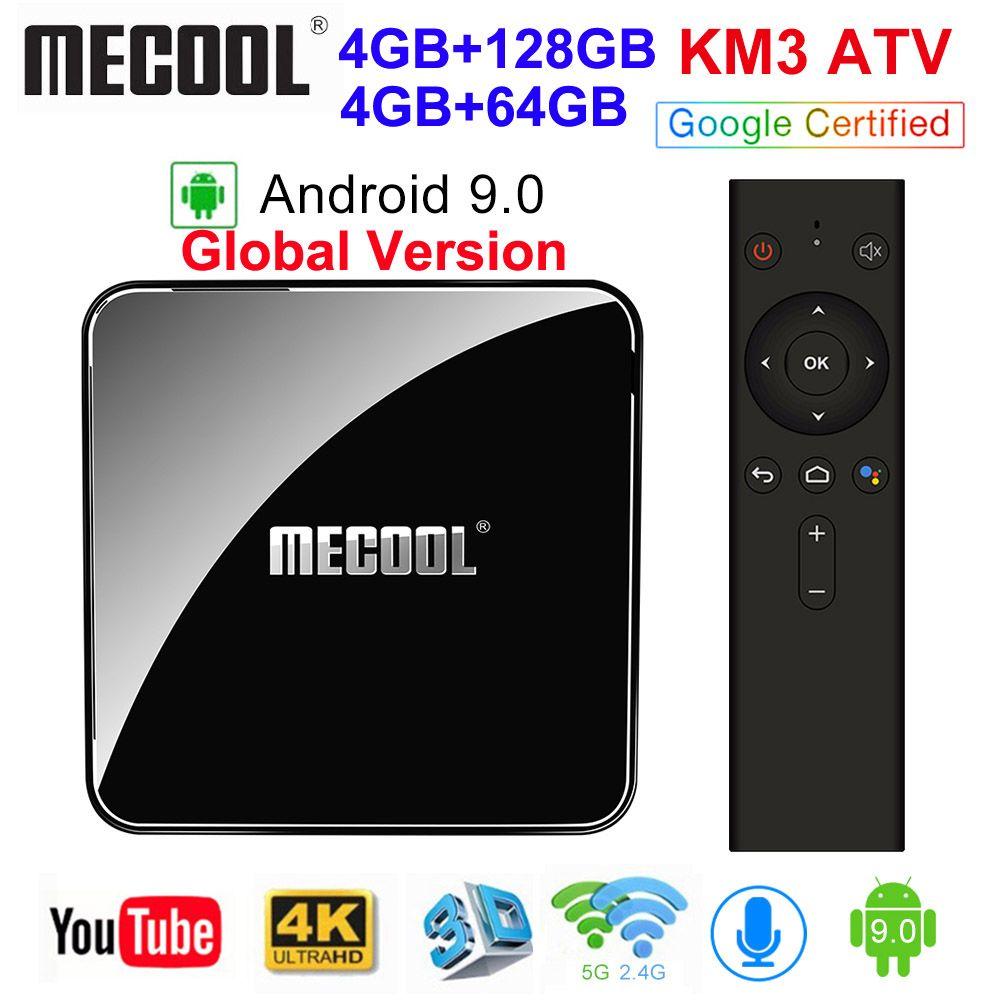 MECOOL KM3 ATV Androidtv Google Certified Android 9.0 TV Box 4GB 64GB 128GB Amlogic S905X2 4K 5G Dual Wifi BT4.0 KM9 PRO 4G 32GB