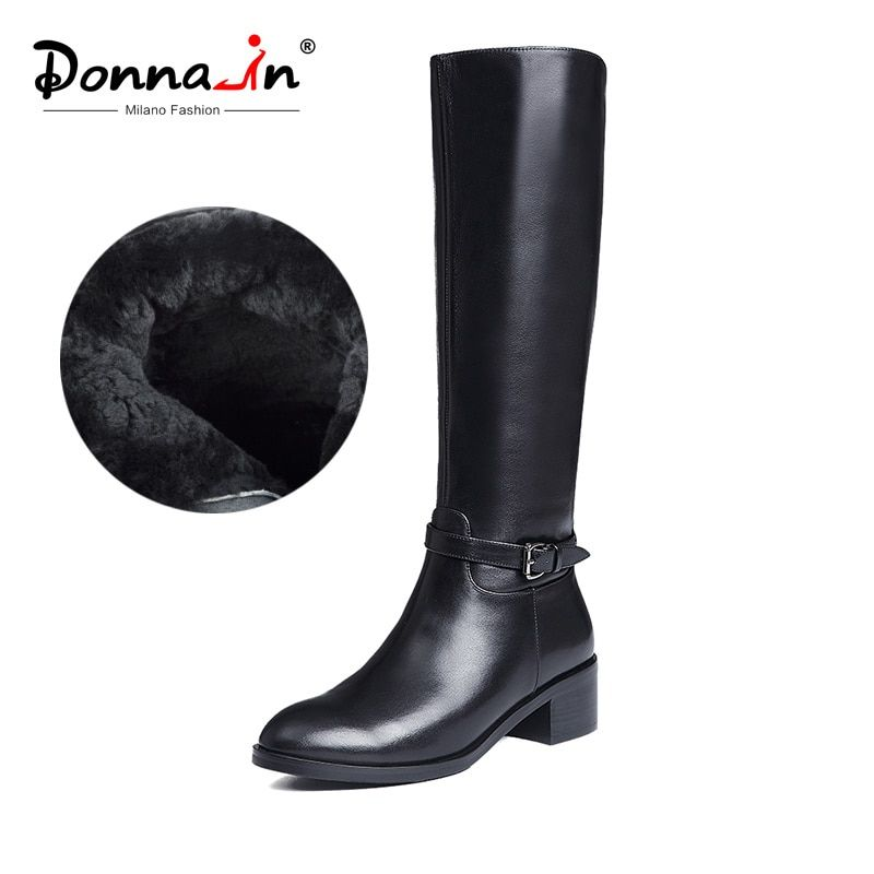 Donna-in Winter Boots Women Knee High Boots Fur Warm Boots New Fashion Real Leather Women Shoes Round Toe Heel Black Ladies 2018