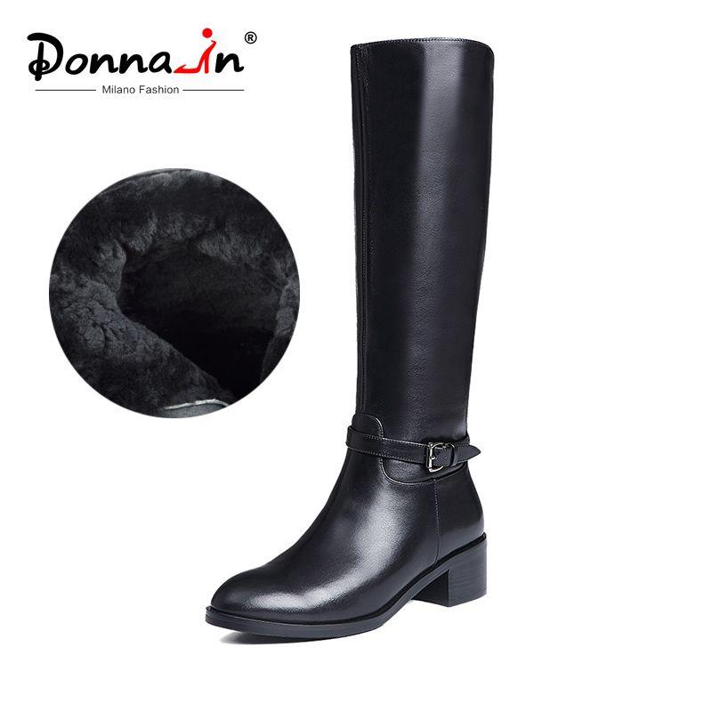 Donna-in Winter Stiefel Frauen Kniehohe Stiefel Fell Warme Stiefel Neue Mode Echt Leder Frauen Schuhe Runde Kappe ferse Schwarz Damen 2018
