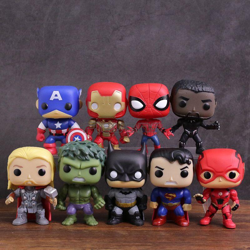 Marvel DC Super héros Captain America Iron Man Spiderman Black Panther Thor Hulk Batman Superman Flash PVC Figure jouets 9 pièces/ensemble
