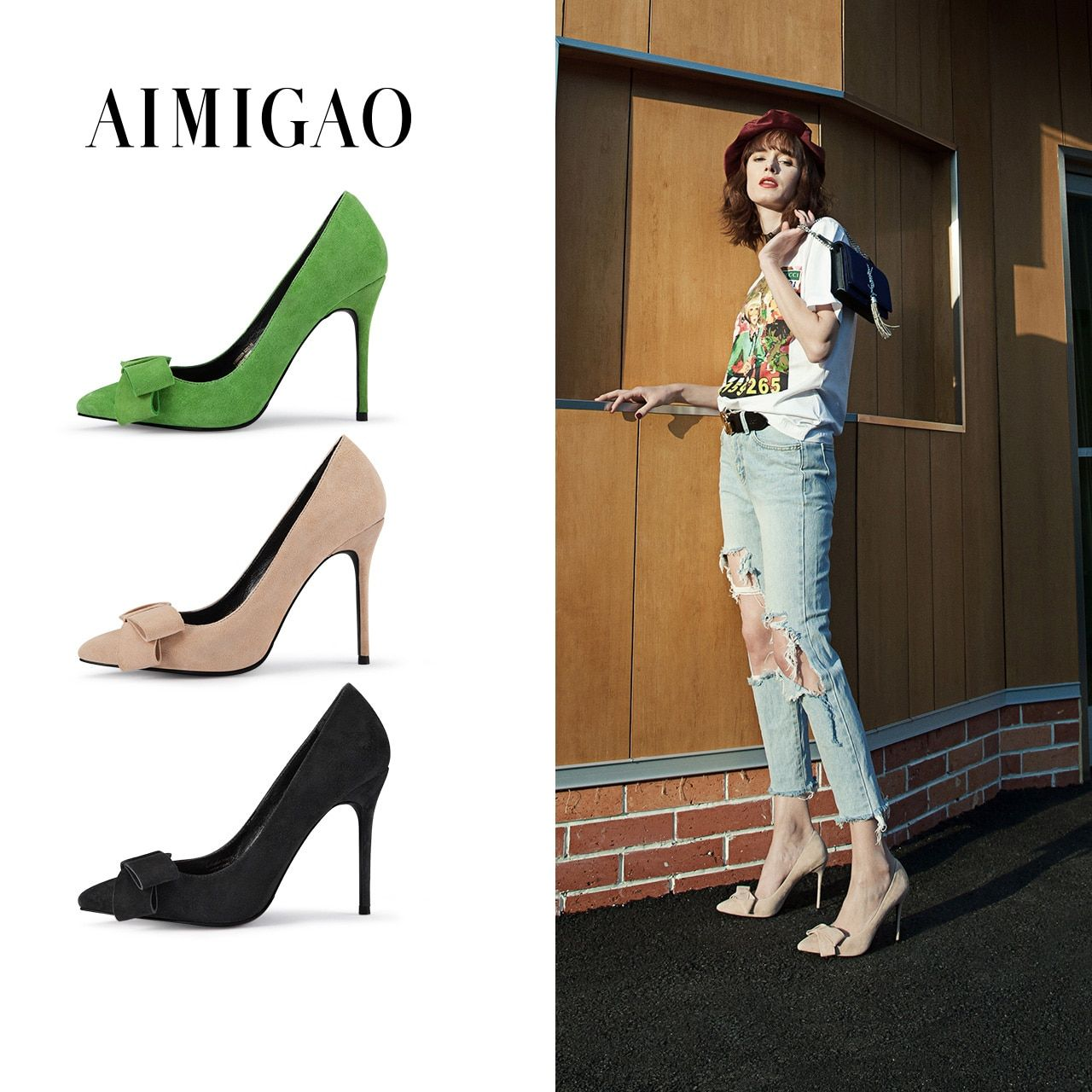 AIMIGAO Genuine Suede Leather Pointed Toe Stiletto High Heel Shoes Fashion Solid Color Lovely Bowknot Pumps Shoes 2018 Spring