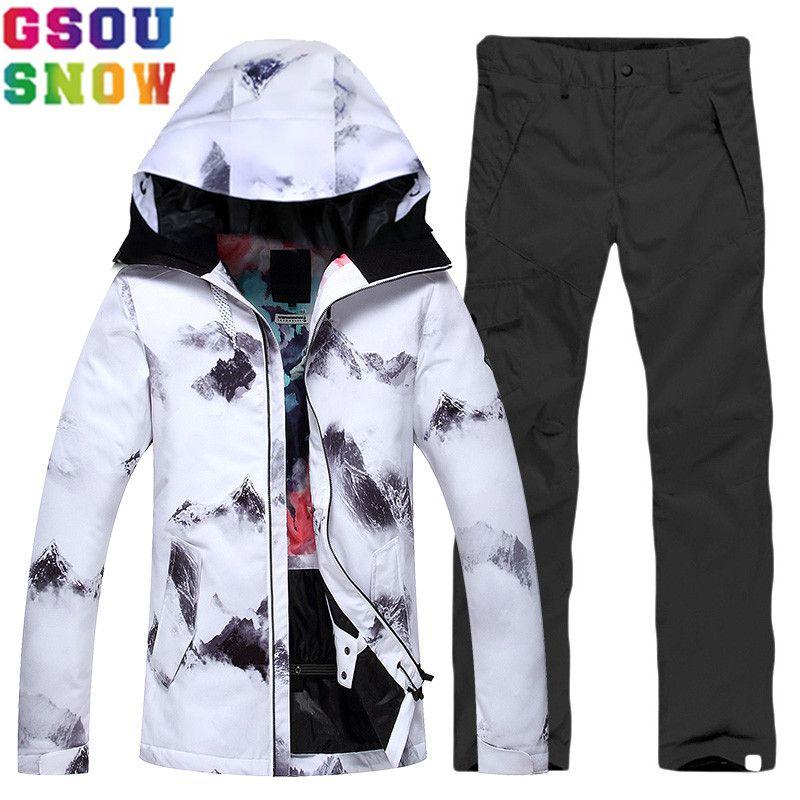 Marke GSOU SCHNEE Skianzug Frauen Skijacke Hosen Wasserdichte Günstige Skifahren Anzug Winter Outdoor Damen Snowboard Sport Kleidung