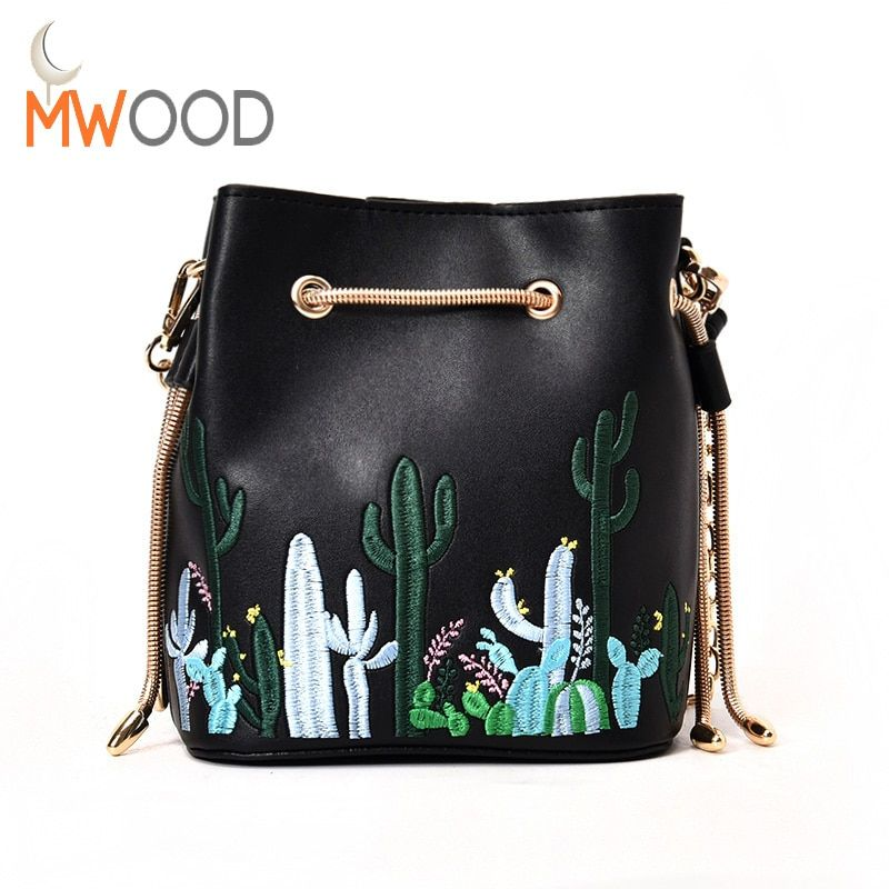 Moon Wood PU Leather Embroidery Chain Shoulder Bags Cactus Printing Fashion Chic Messenger Crossbody Daily Casual Girls Handbags
