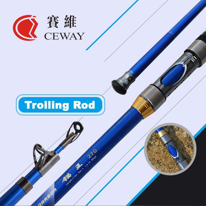 Carbon Boat Fishing Rods Telescopic Trolling Rod Ultra Hard Troll Jigging Pole Fish Tackle Poles 2.7m 3m 3.6m 3.9m FREE SHIPPING