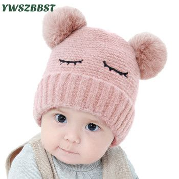 Newbron Baby Winter Hat Warm Crochet Infant Hat with Pompom Toddler Girl Cap Baby Boys Caps Knit Hats 0-12Months