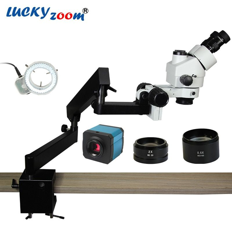 Lucky Zoom 3.5X-90X Simul-Focuse Trinocular Articulating Arm Clamp Stereo Microscope 144 LED 14MP HDMI Microscopio Camera