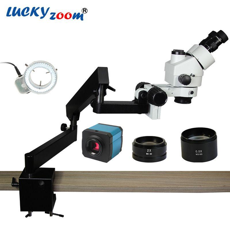 Lucky Zoom 3.5X-90X Simul-Focuse Trinocular Articulating Arm Clamp Stereo Microscope 144 LED 14MP HDMI Microscopio Camera