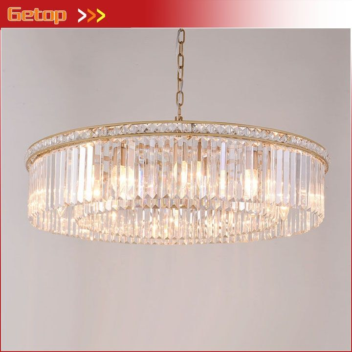 American Vintage K9 Crystal Chandelier LED Retro Suspension Chandeliers Round Living Room Restaurant Hotel Hanging Lighting