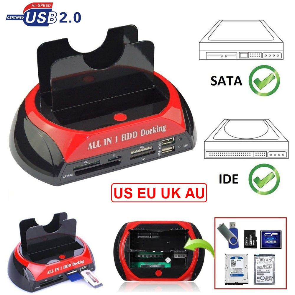 All in One Dual Bay 2.5 Inch 3.5 Inch HDD Docking Station eSATA & USB 2.0 to IDE SATA Hard Disk Cloning Docking With Card Reader